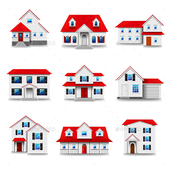 Houses Icons Vector Set - Buildings Objects