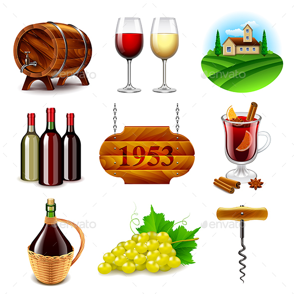 Wine and Winemaking Icons Vector Set - Food Objects
