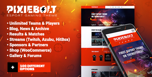 PixieBolt | eSports Gaming Theme For Clans & Organizations - Entertainment WordPress
