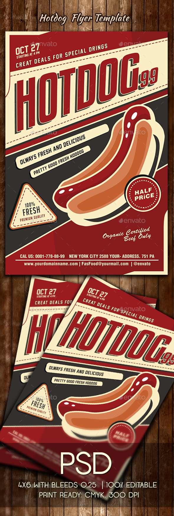 Hotdog Flyer Template - Restaurant Flyers