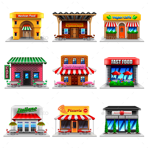 Cafe and Restaurants Icons Vector Set - Food Objects