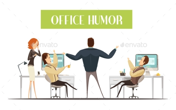 Office Humor Cartoon Style Illustration - Concepts Business