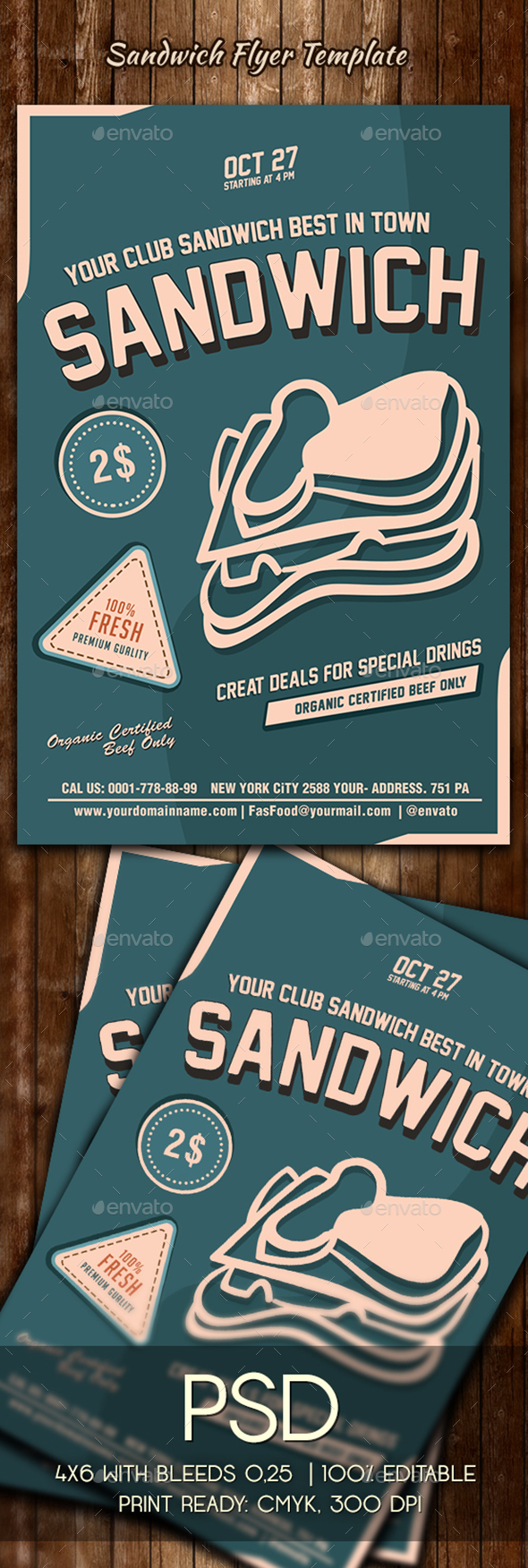 Sandwich Flyer Template - Restaurant Flyers