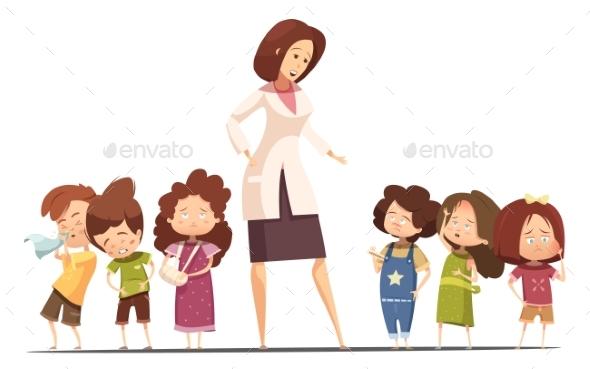 Kindergarten Food Posoning Situation Cartoon - Health/Medicine Conceptual