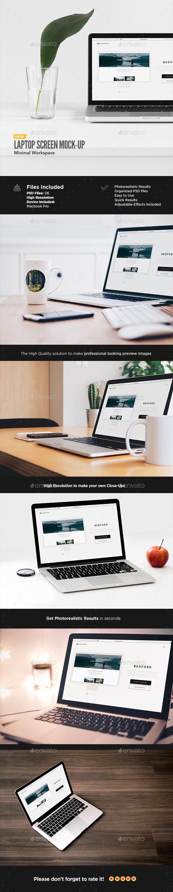 Laptop Display Mock-Up | Workspace Edition - Displays Product Mock-Ups