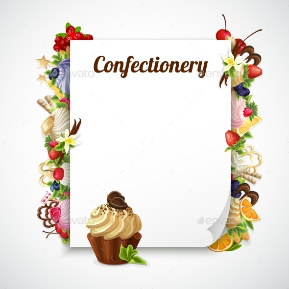 Confectionery Decorative Frame - Food Objects