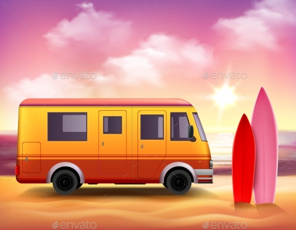 Surfing Van  3D Colorful Background Poster - Sports/Activity Conceptual