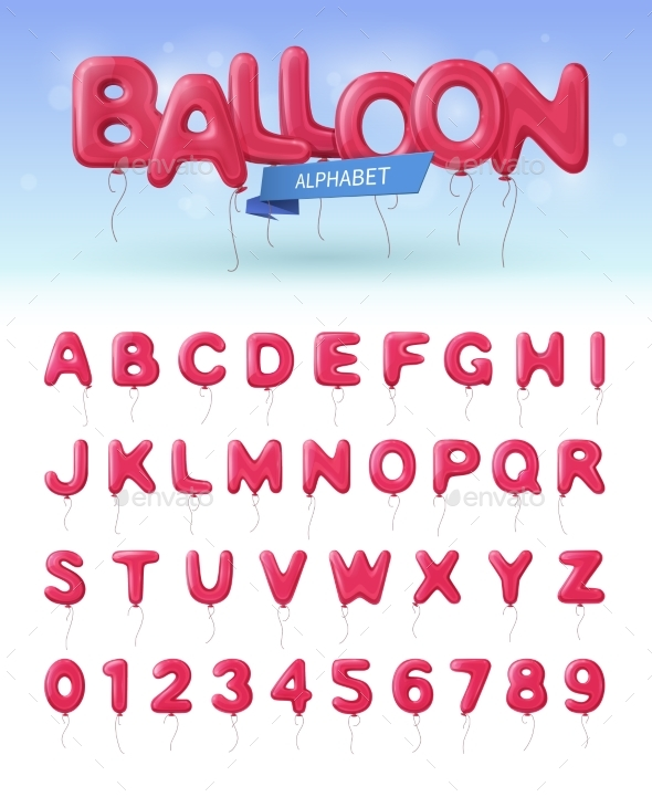 Balloon Alphabet Realistic Icon Set - Decorative Symbols Decorative
