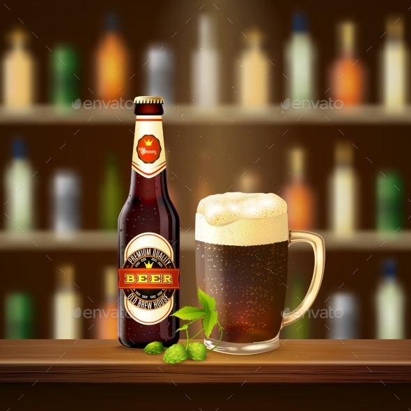 Realistic Beer Illustration - Food Objects