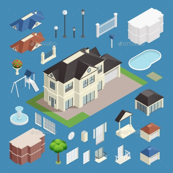 Suburb House Isometric Set - Buildings Objects