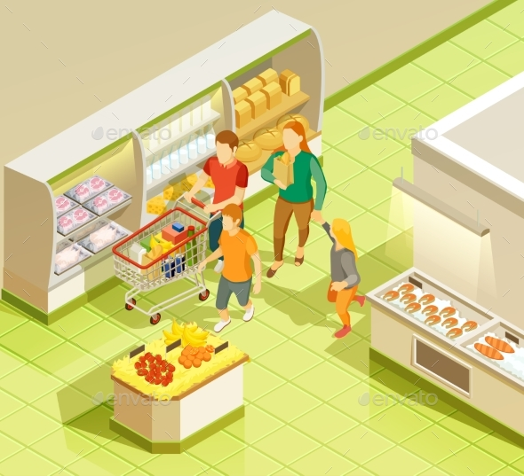 Family Grocery Shopping Supermarket Isometric View - Food Objects