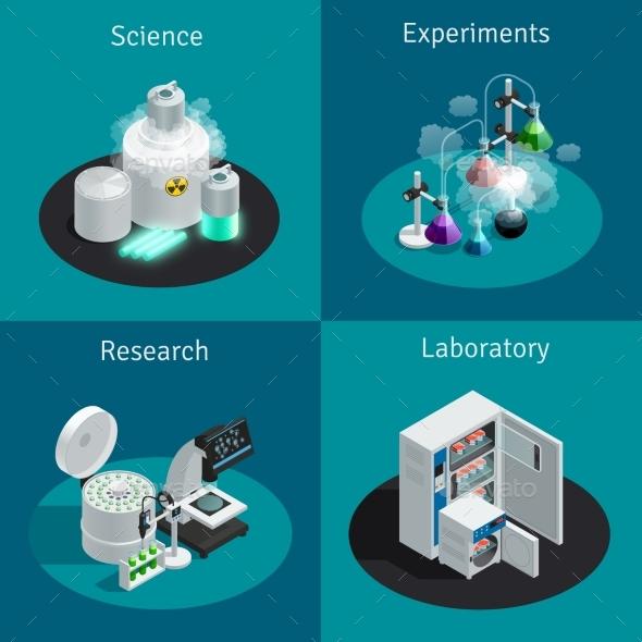 Scientific Laboratory 2X2 Isometric Design Concept - Miscellaneous Vectors
