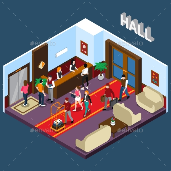Hotel Hall Isometric Illustration - Concepts Business