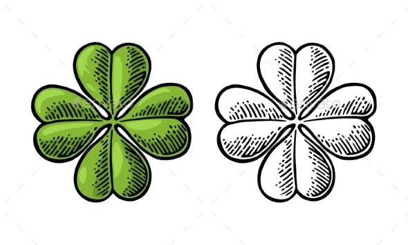 Good Luck Vintage Four Leaf Clover  - Miscellaneous Vectors