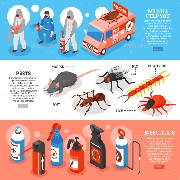 Pest Control Isometric Horizontal Banners - Miscellaneous Vectors