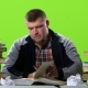 Guy with the Book Begins Very Angry, and Slowly Calmed Down. Green Screen