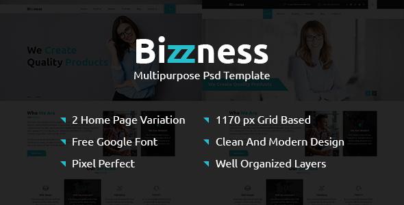 Bizzness - A Multipurpose Business PSD Template