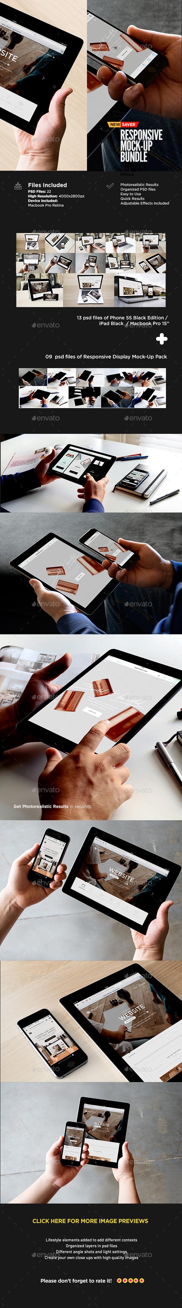 Responsive Web Design Mockup | Bundle Edition - Multiple Displays