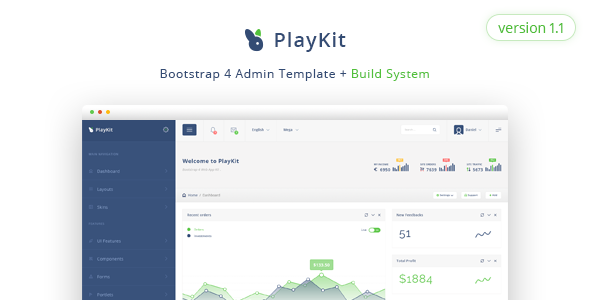 PlayKit - Responsive Bootstrap 4 Admin Template + Build System - Admin Templates Site Templates