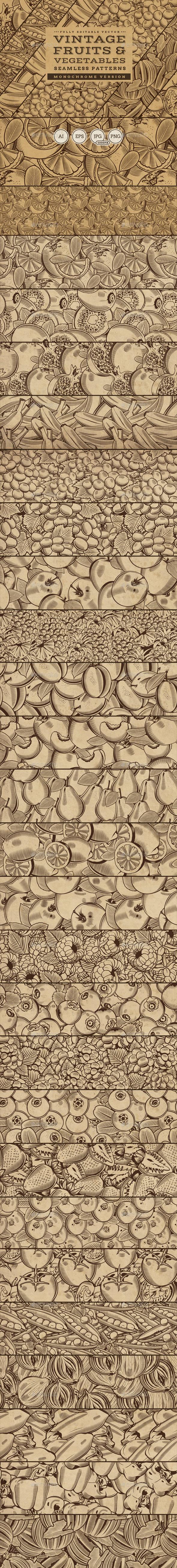 Fruits & Vegetables Vintage Seamless Patterns - Patterns Decorative