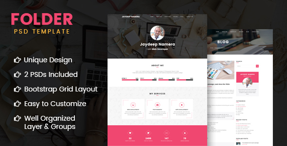 Folder –  Freelancer One Page Portfolio & Resume PSD Template