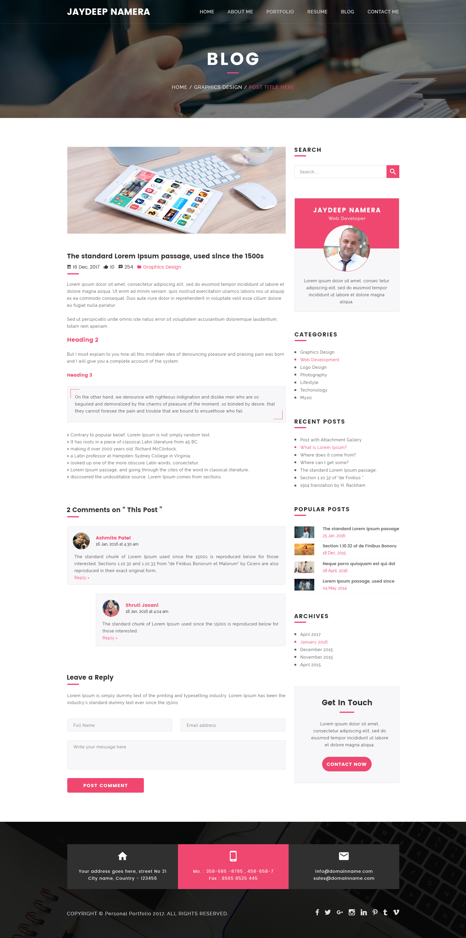 Folder Freelancer e Page Portfolio & Resume PSD