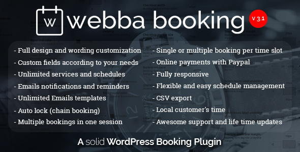Webba Booking - WordPress Appointment Plugin