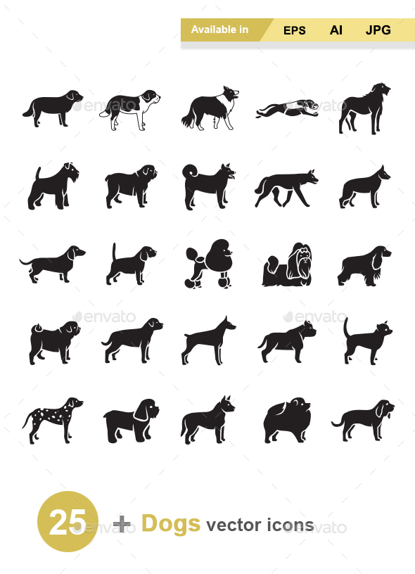 Dogs Vector Icons - Animals Characters