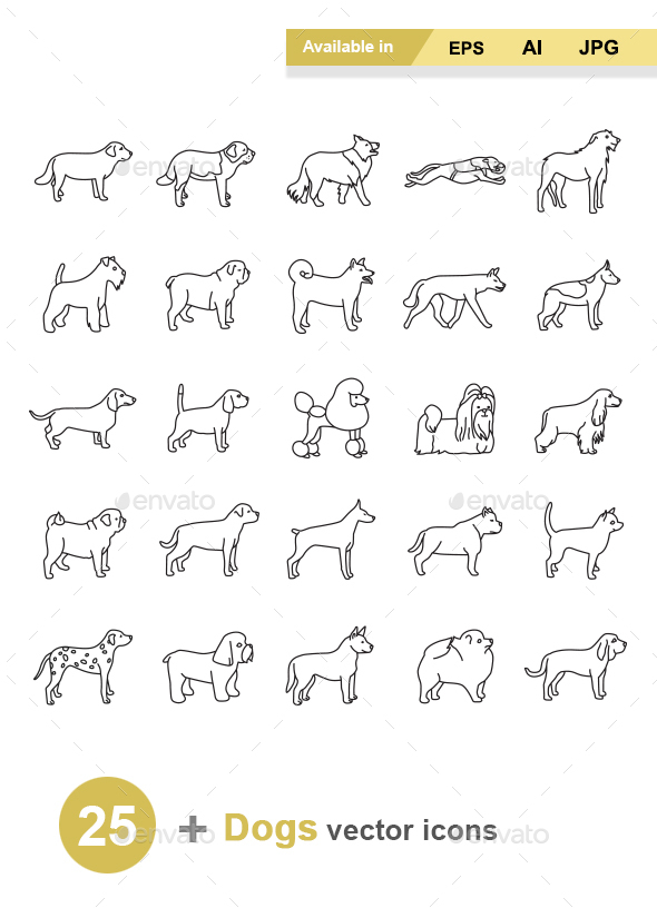 Dogs Outlines Vector Icons - Animals Characters