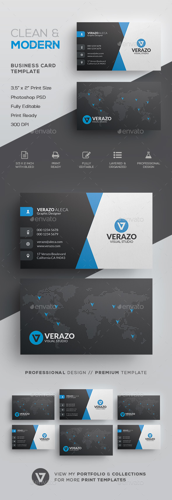 Clean & Modern Corporate Business Card Template - Corporate Business Cards