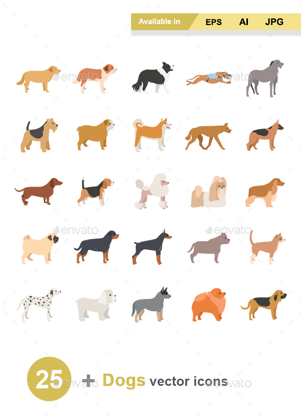 Dogs Color Vector Icons - Animals Characters