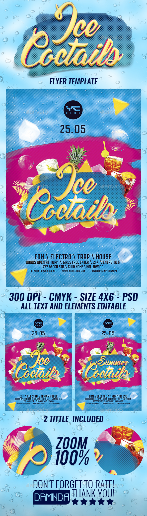 Ice Summer Coctails Flyer Template - Clubs & Parties Events