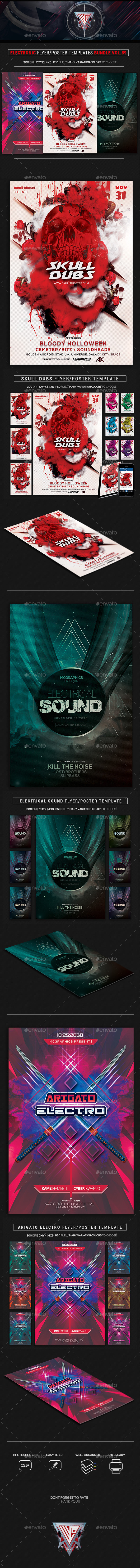 Electro Music Flyer Bundle Vol. 39 - Flyers Print Templates
