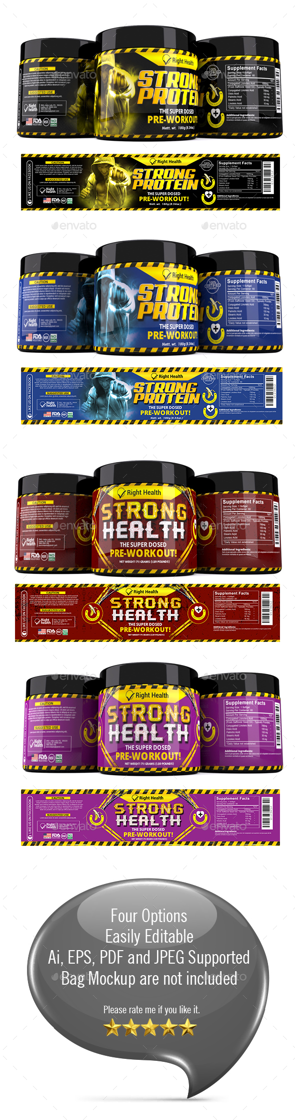 Supplement Label Template 008 - Packaging Print Templates