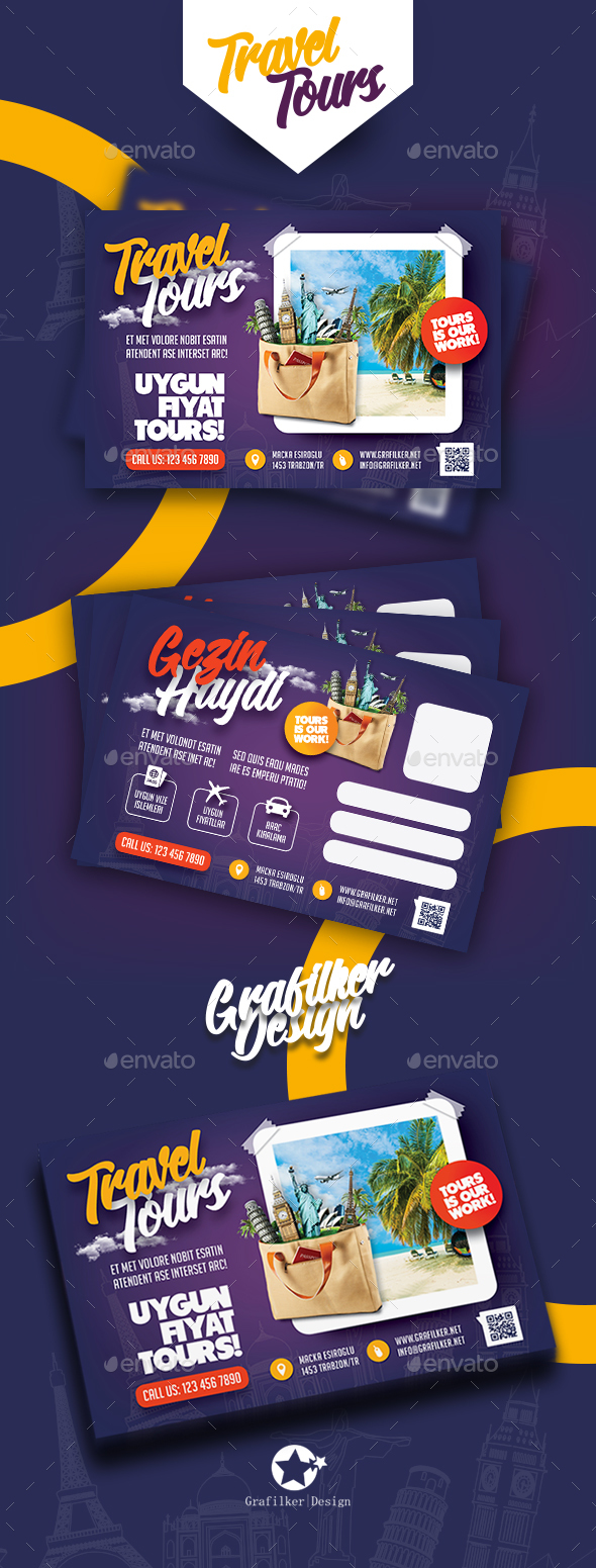 Travel Tours Postcard Templates - Corporate Flyers
