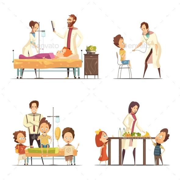 Childrens Hospital 4 Cartoon Icons Set - Health/Medicine Conceptual