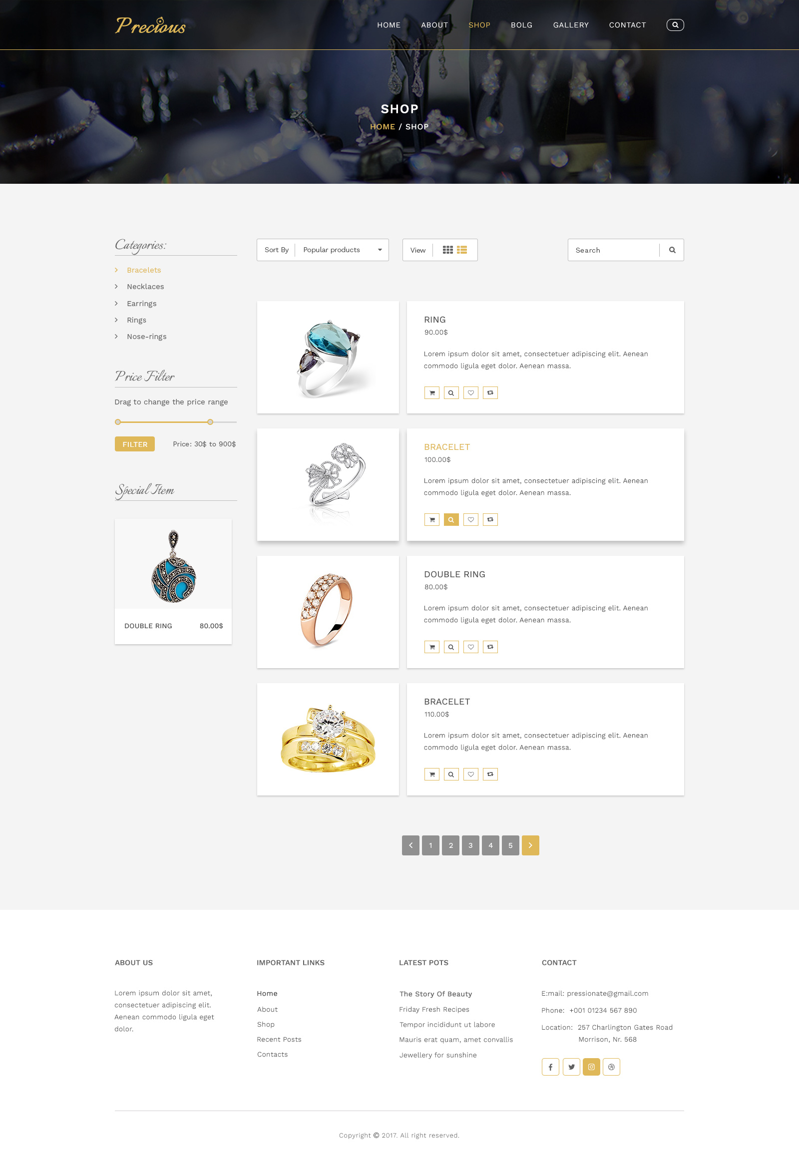 Precious Jewelry Psd Template