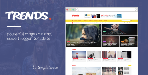 Trends - News/Magazine Responsive Blogger Template - Blogger Blogging
