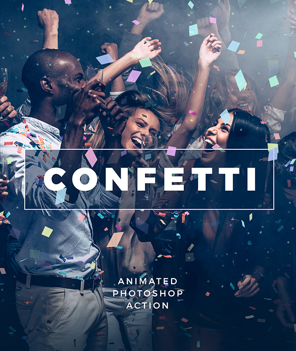 Gif Animated Confetti / Photoshop Action - Photo Effects Actions