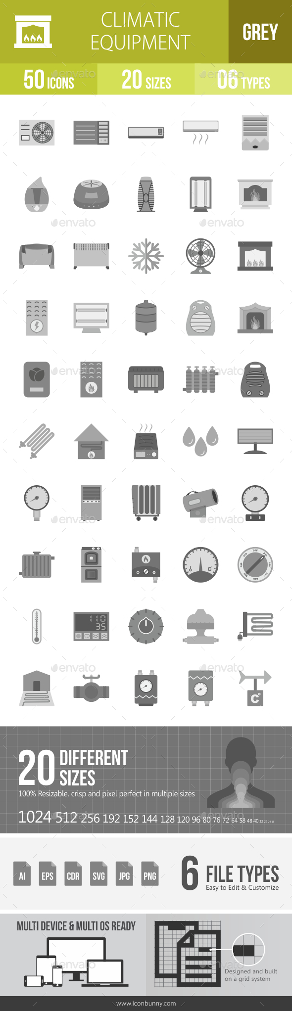 Climatic Equipment Greyscale Icons - Icons