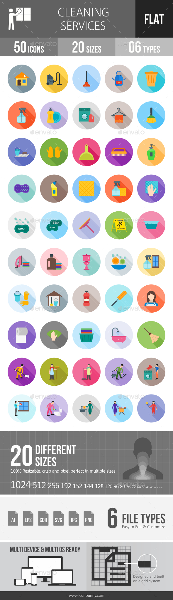 Cleaning Services Flat Shadowed Icons - Icons