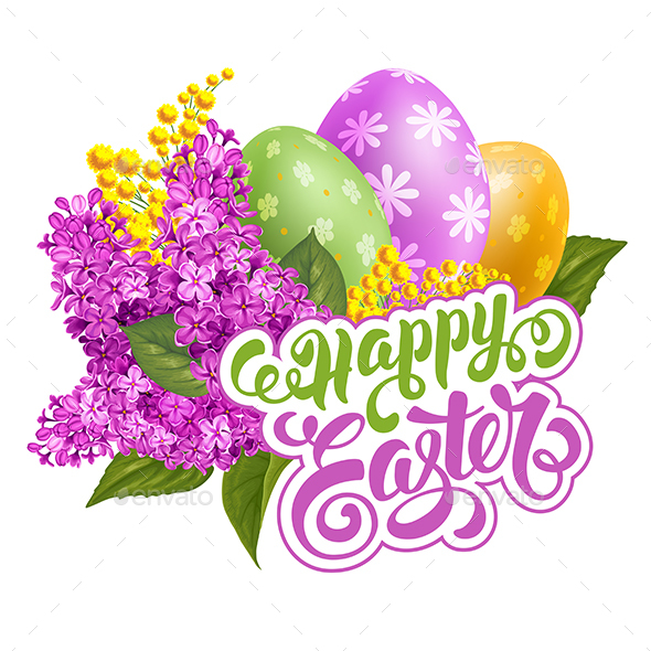Happy Easter with Colored Eggs and Spring Flowers - Miscellaneous Seasons/Holidays