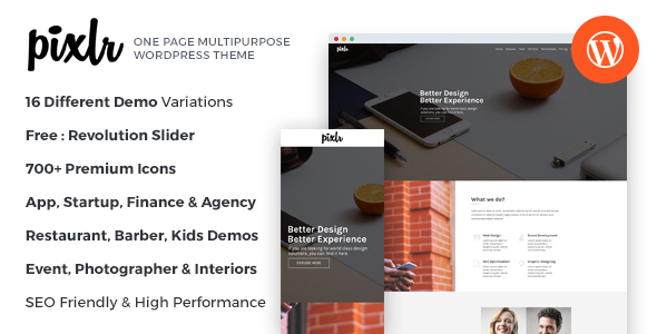 Pixlr - Premium One Page Multipurpose WordPress Theme