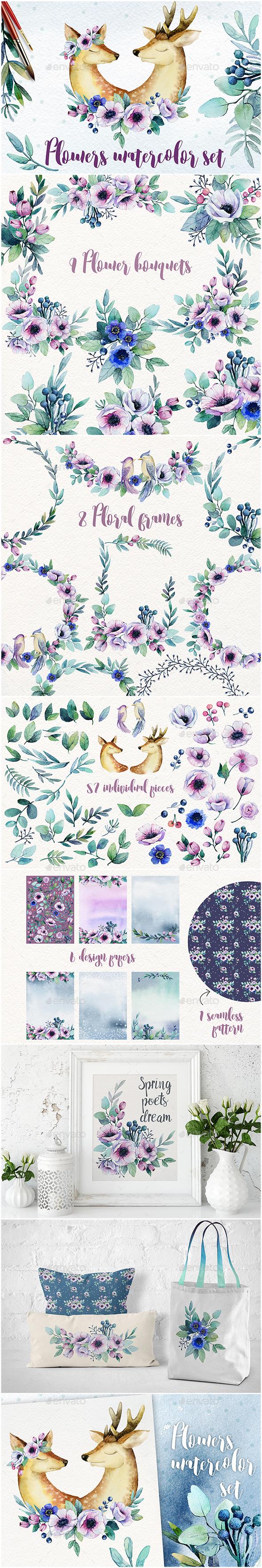 Flowers Watercolor Set - Decorative Graphics