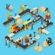 Isometric Automated Production Line Concept - GraphicRiver Item for Sale