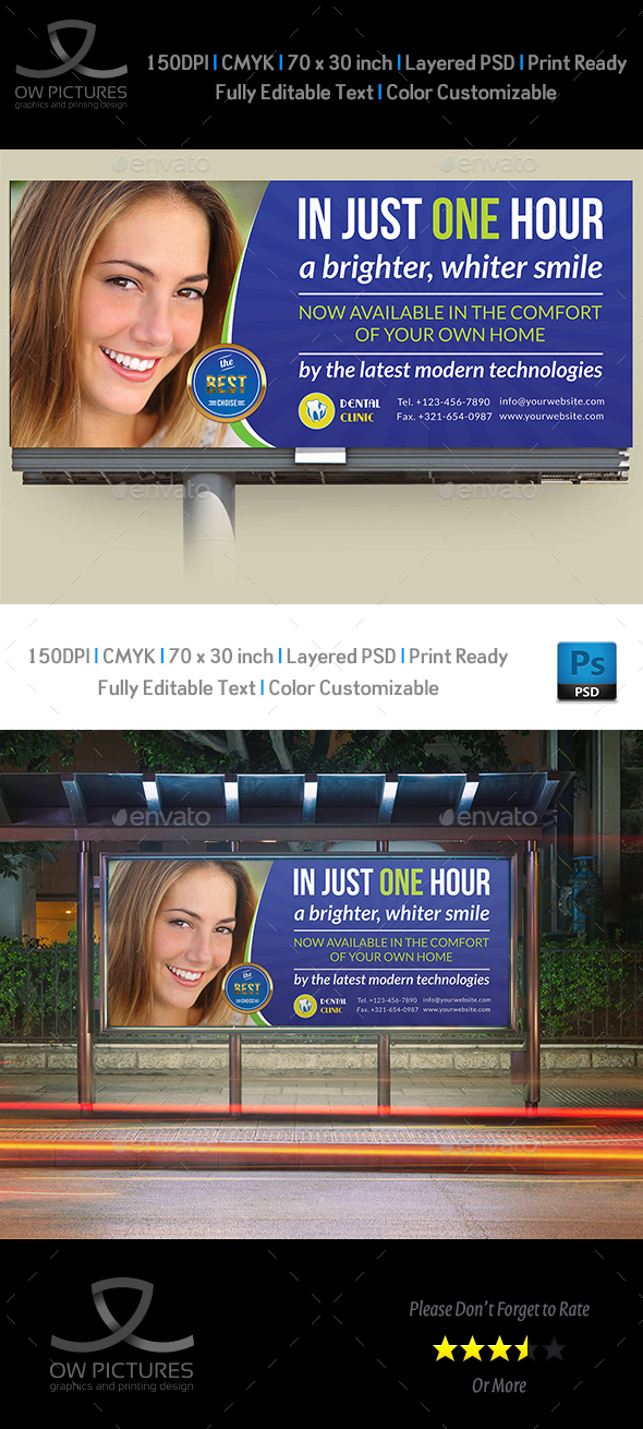 Dental Clinic Billboard Template - Signage Print Templates