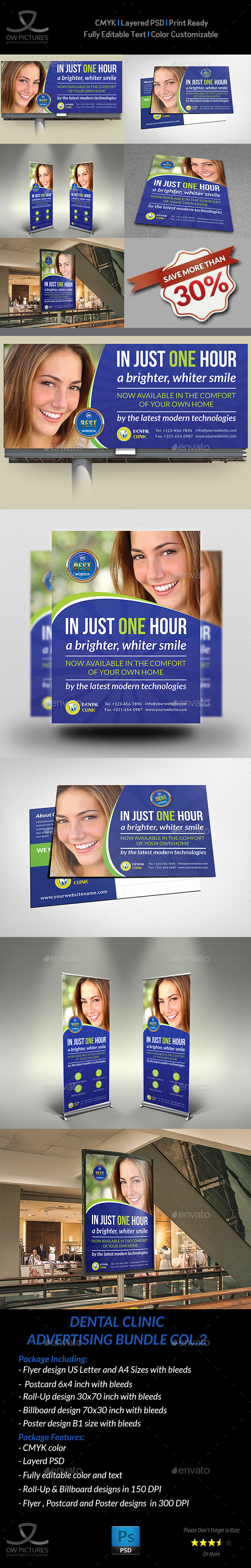 Dental Clinic Advertising Bundle Vol.2 - Signage Print Templates