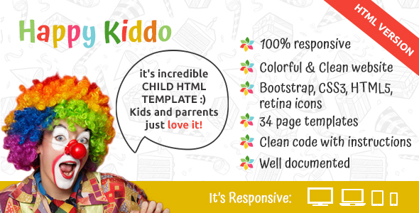Happy Kiddo – multipurpose kids HTML template