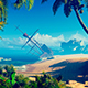 Tropical Island And Old SailingSship