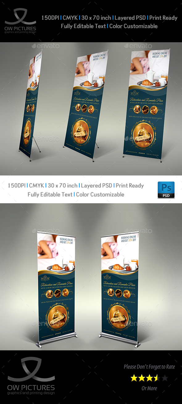 Hotel Signage Roll Up Banner Template Vol.2 - Signage Print Templates